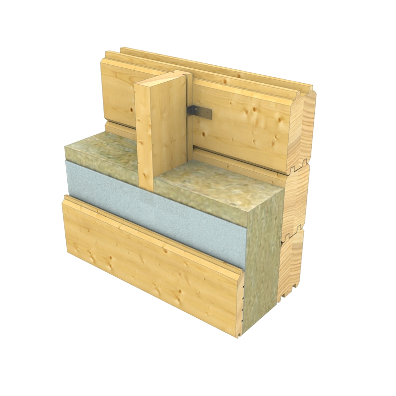 Parete della casa in legno con l'intercapedine