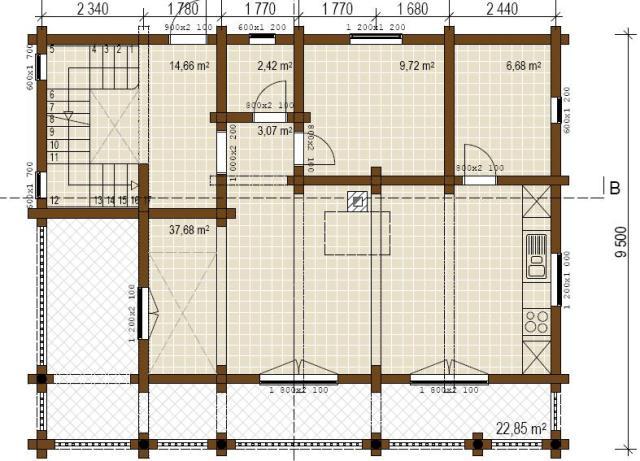 Case in legno a due piani