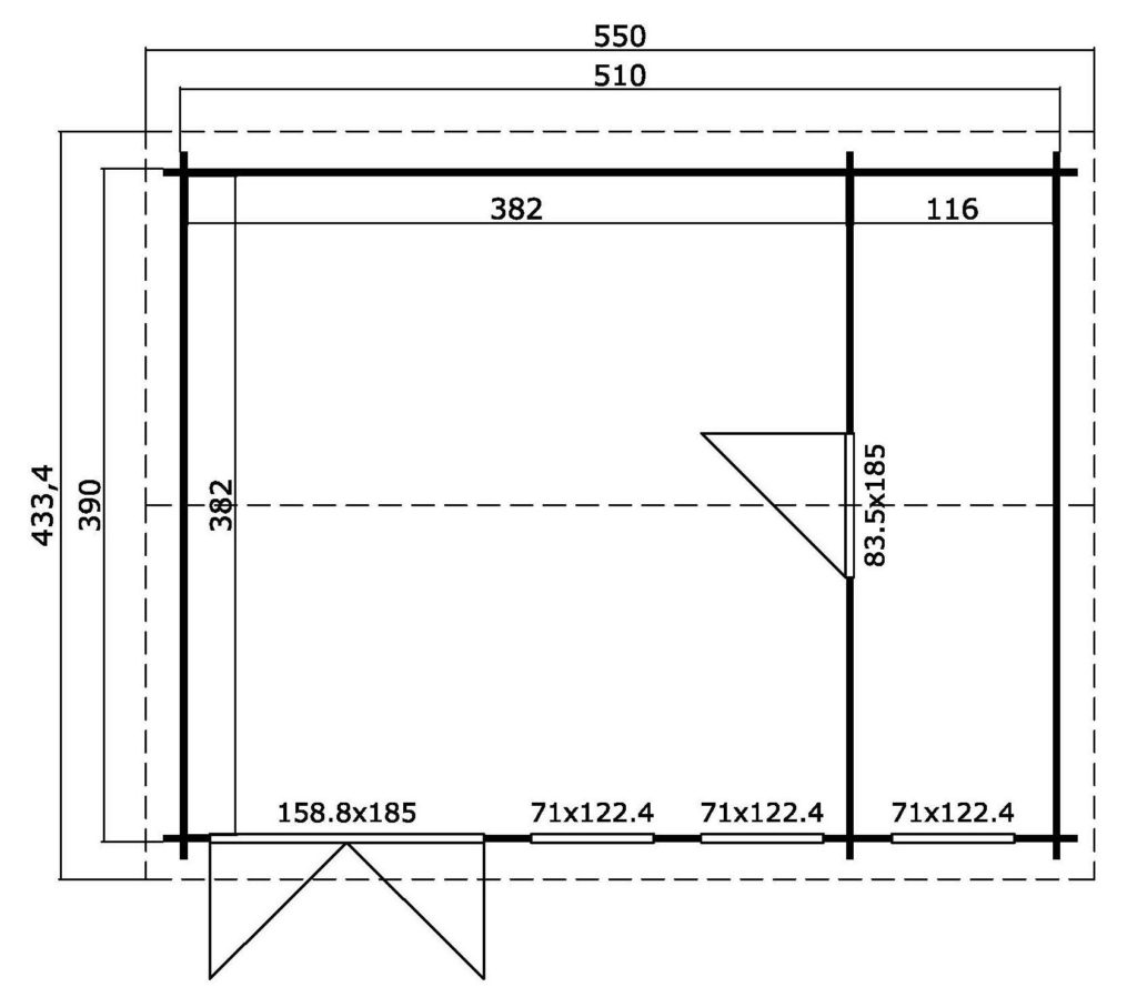 Casetta in legno 20 mq 5,1 x 3,9 metri